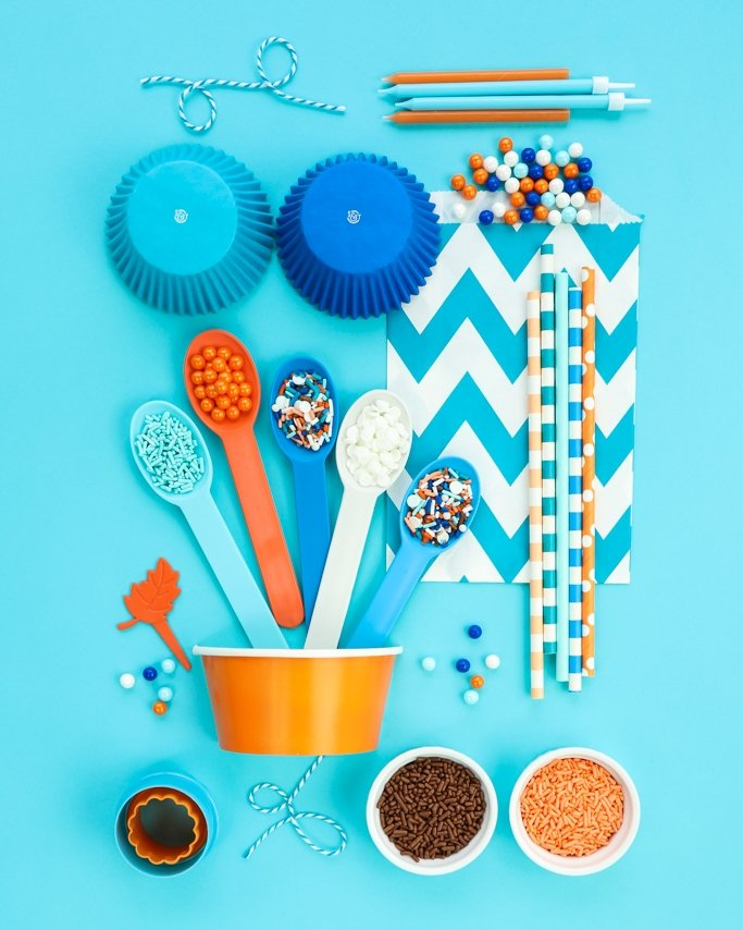Bohemian Party Ideas board - Blue, Brown, Peach, and Orange party supplies