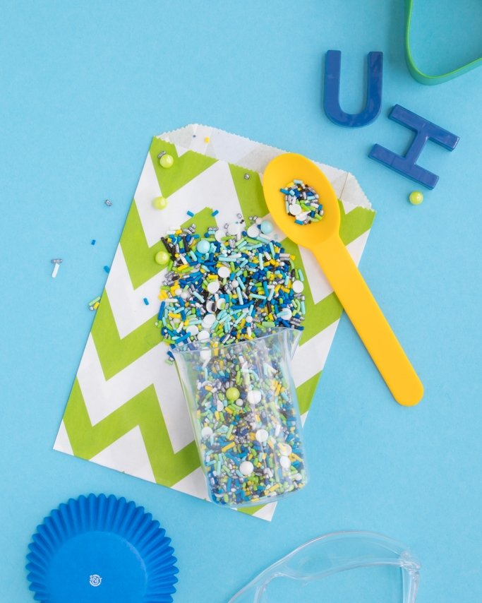 Mad Scientist Party Sprinkles on green goodie bag and blue background