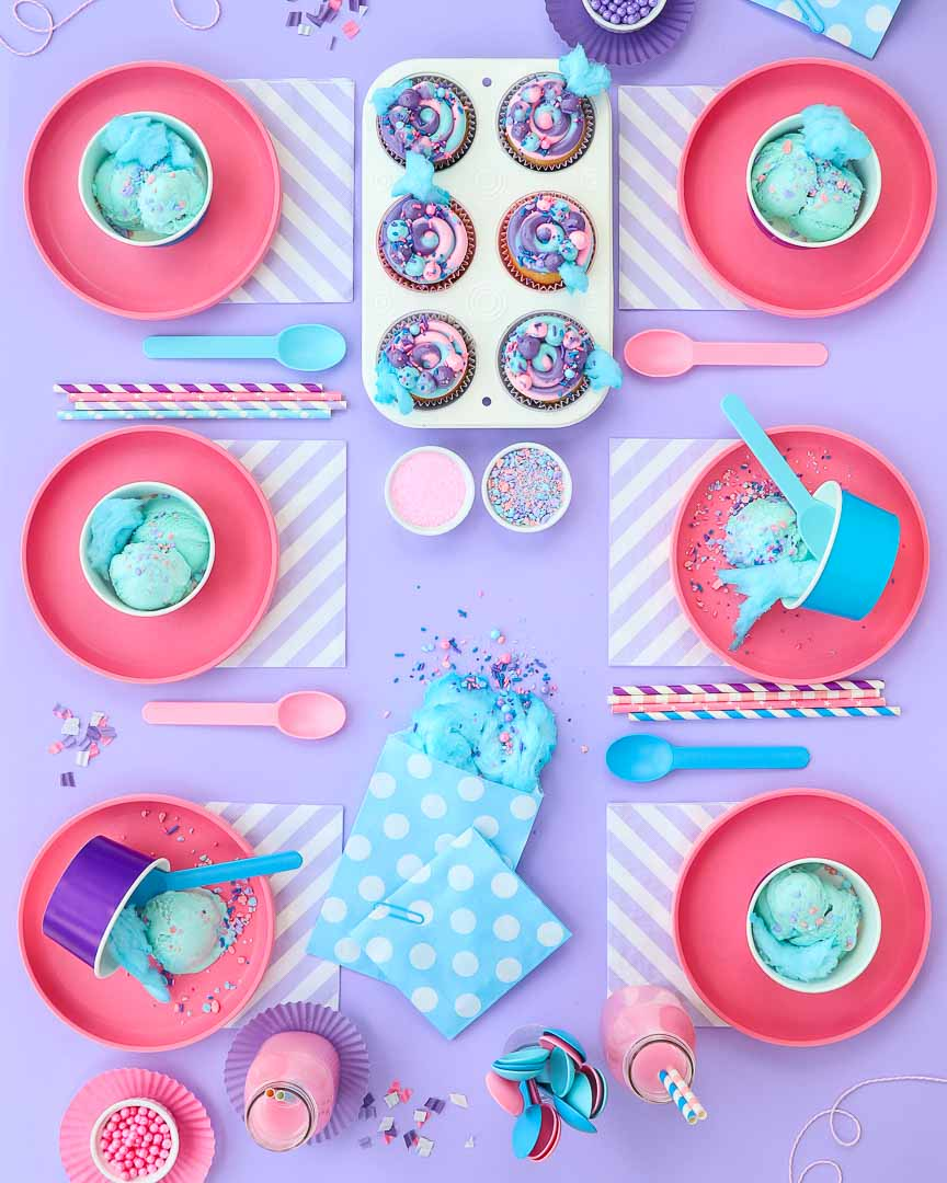cotton candy party table setup - 6 place settings
