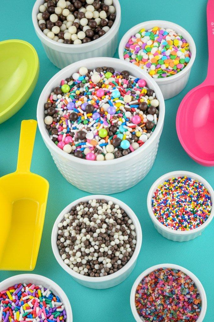 Custom Sprinkles Mix in large white bowl