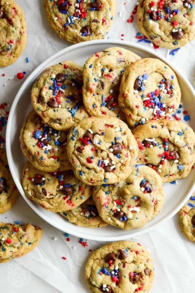 huge plate of patriotic sprinkle chocolate chip cookies
