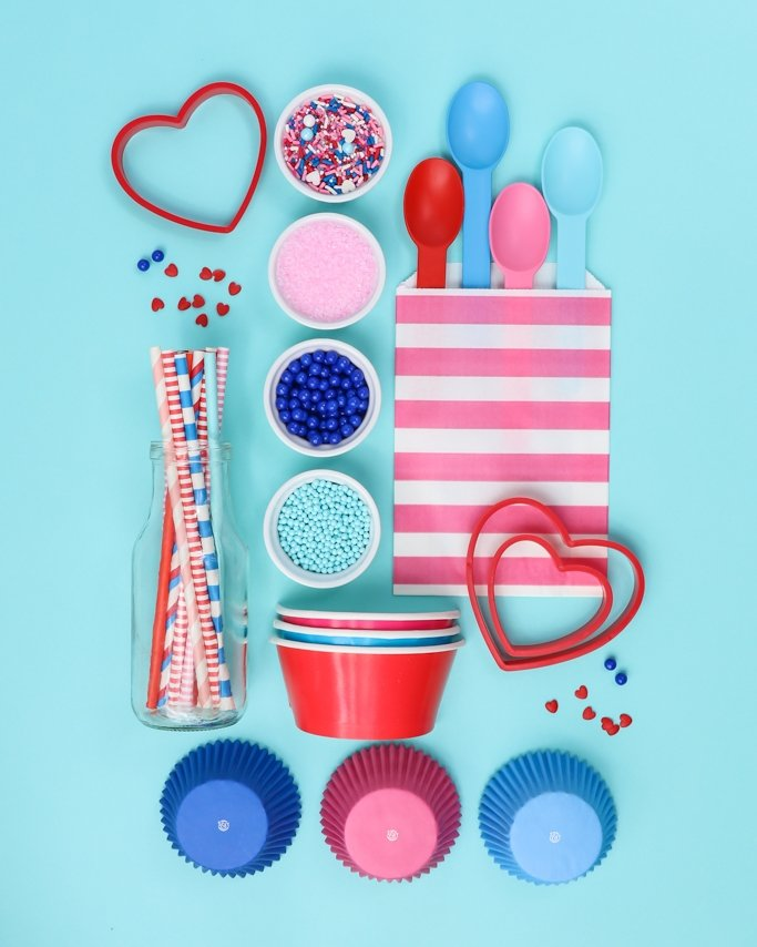 Double Bubble Blue + Pink Valentine Party Supplies