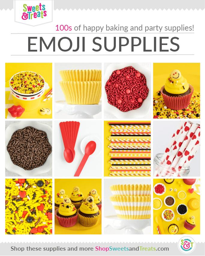 Emoji Party Supplies Grid with Emoji Sprinkles