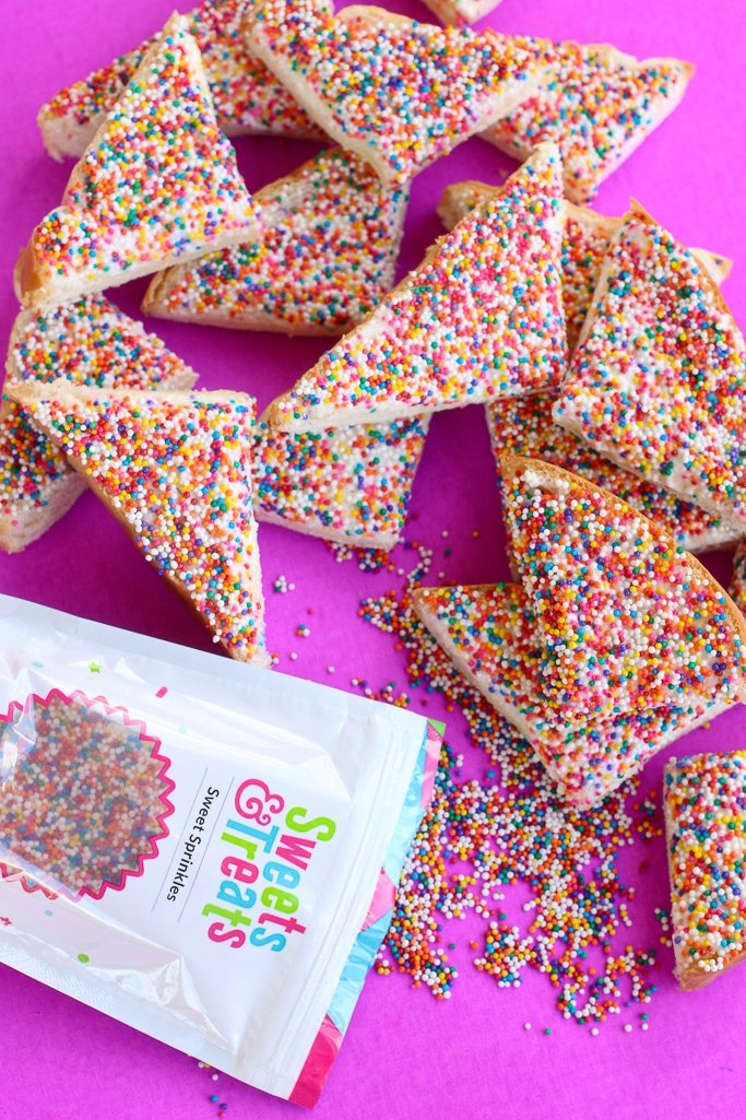 stacks of fairy bread for a party