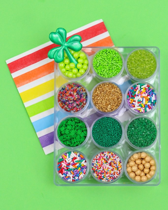 green and rainbow St. Patrick's Day sprinkles kit on lime background
