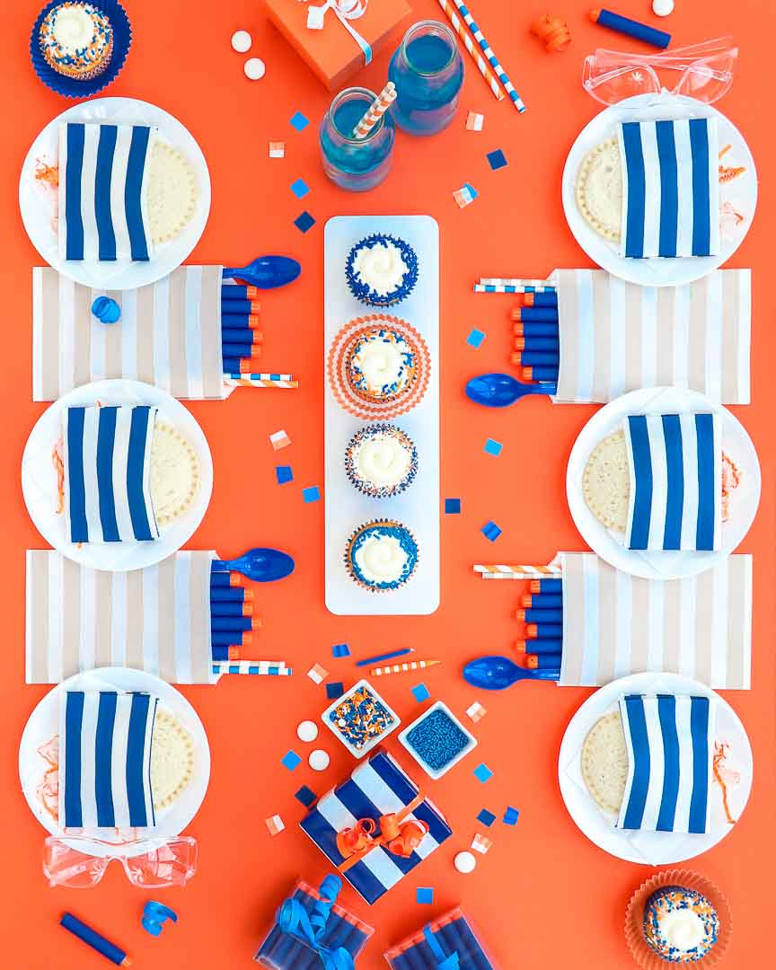 Nerf inspired party table setup - 6 place setting