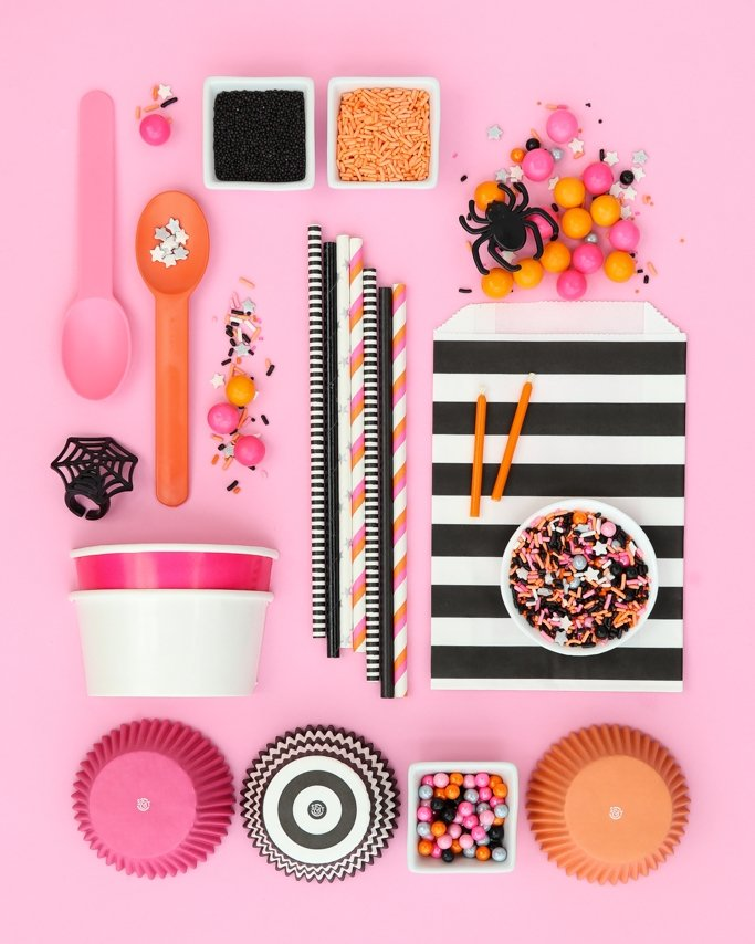 Hocus Pocus Pink Halloween Party Ideas - Pink Halloween Party Supplies on pink background