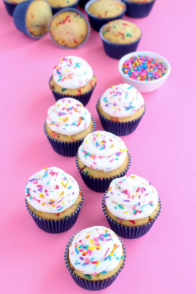 Soft, light, fluffy, and sweet confetti cupcakes.