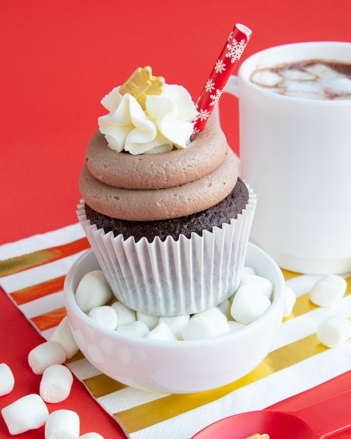 hot chocolate cupcakes on cup of mini marshmallows