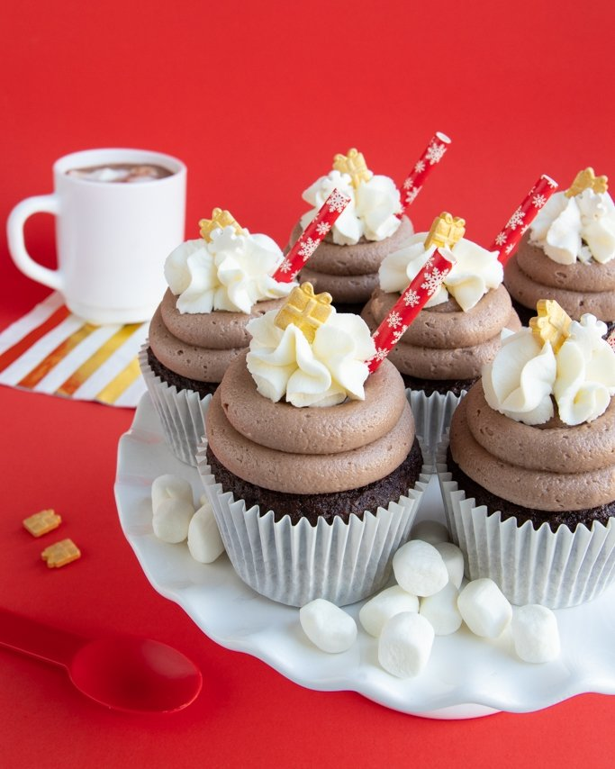 Hot chocolate cupcakes recipe with cocoa buttercream