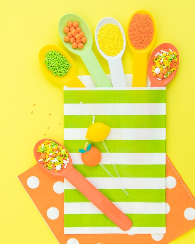 Lemon Lime spoons, sprinkles, and goodie bags.