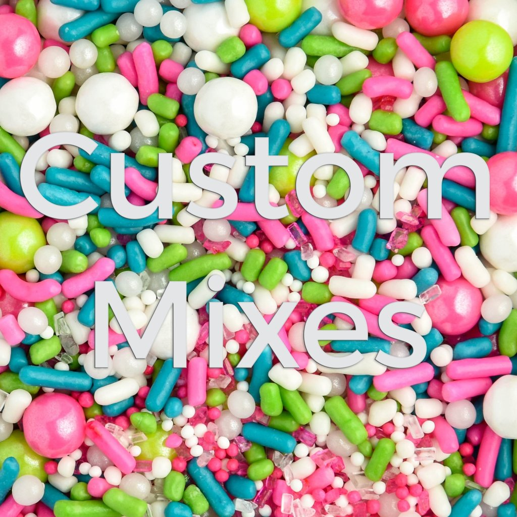 custom sprinkles mixes with a rainbow of colors