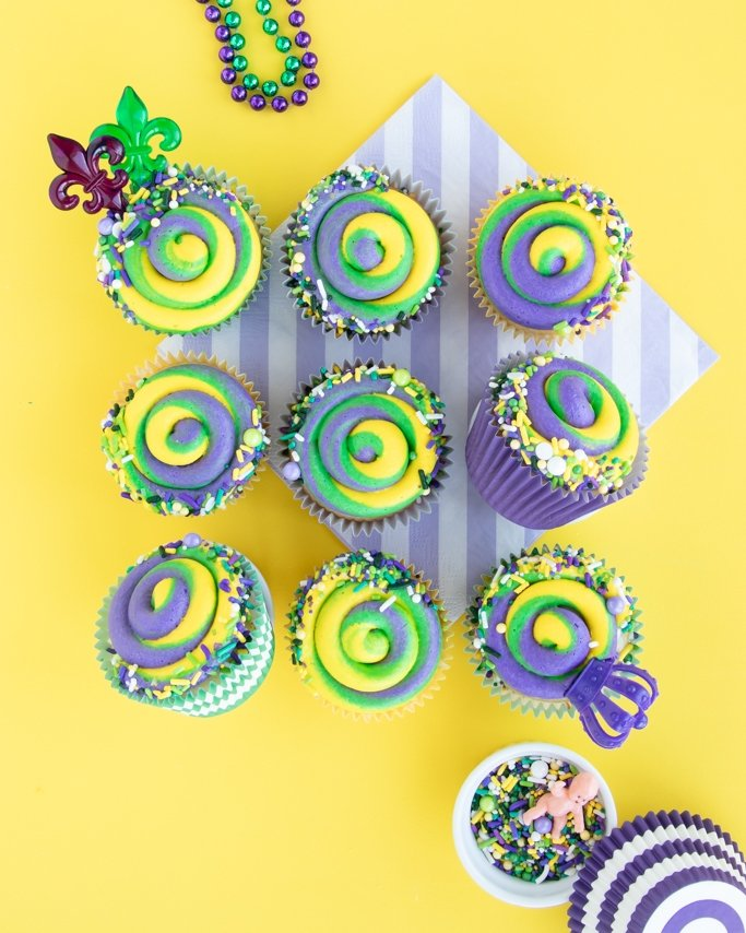 Mardi Gras Cupcakes - King Cake Cupcakes grid on yellow background