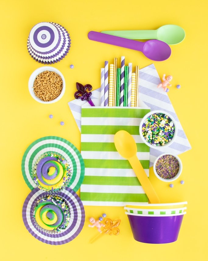 Mardi Gras Party Ideas - Mardi Gras Party Supplies collage on yellow background