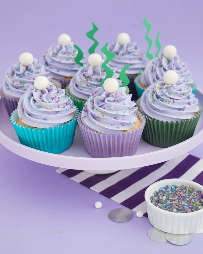 Easy mermaid cupcakes with mermaid sprinkles.