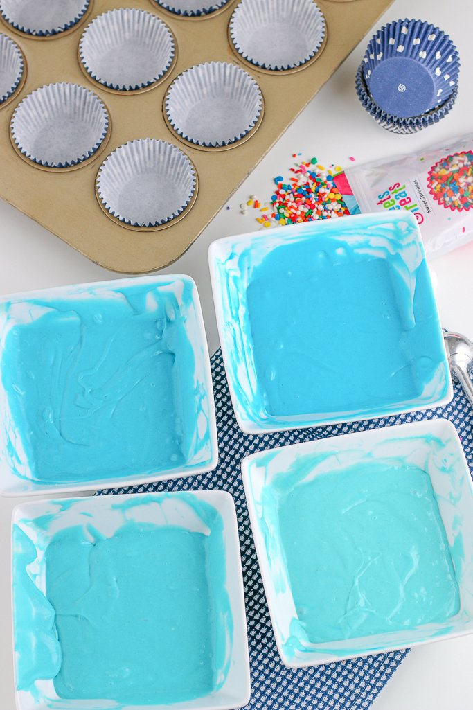 Now we can see what the frosting looks like when it's mixed up. We are soon ready to learn how to decorate ombre cupcakes.