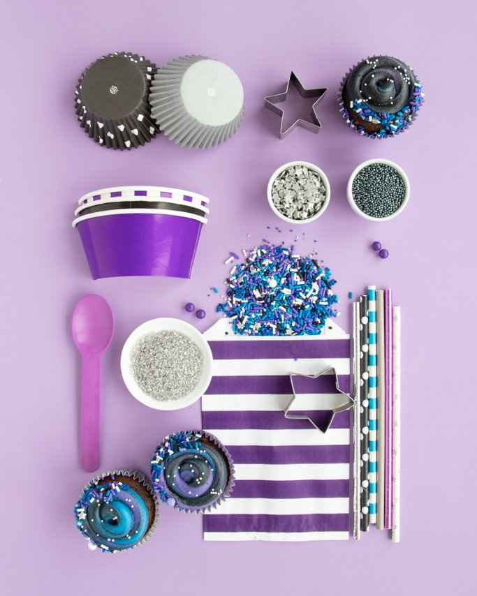 Galaxy Themed Party Ideas & Supplies collage on light purple background