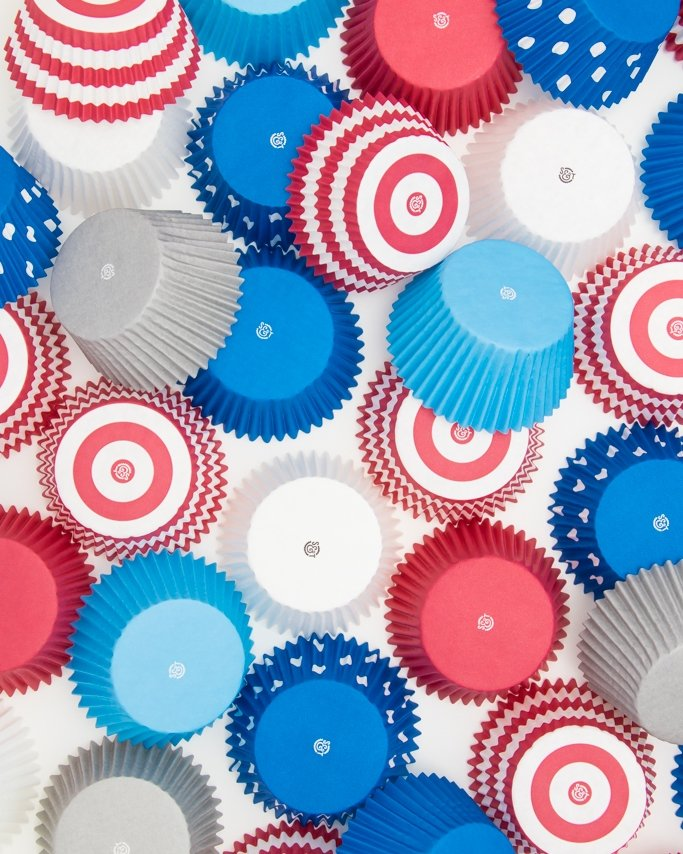 Red, white, and blue cupcake liners.