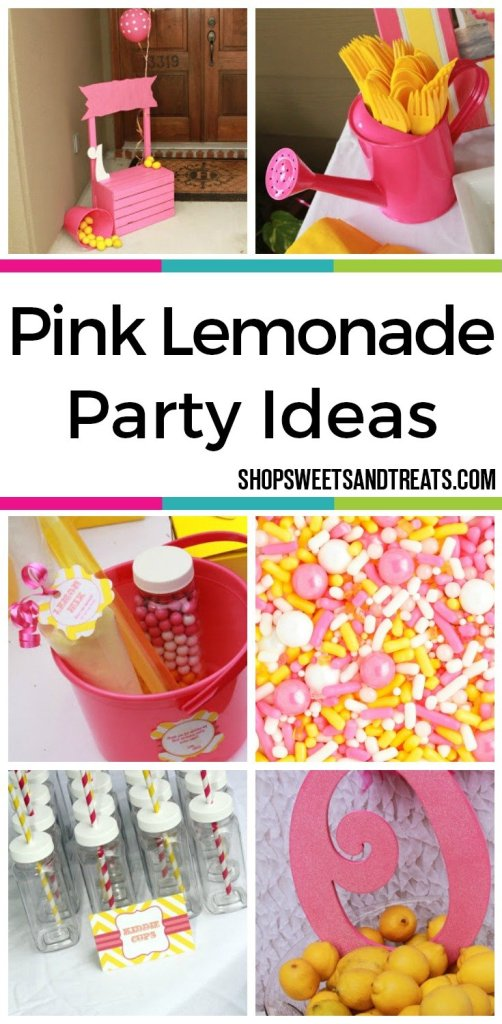 Pink Lemonade Party Ideas Collage - Pink & Yellow