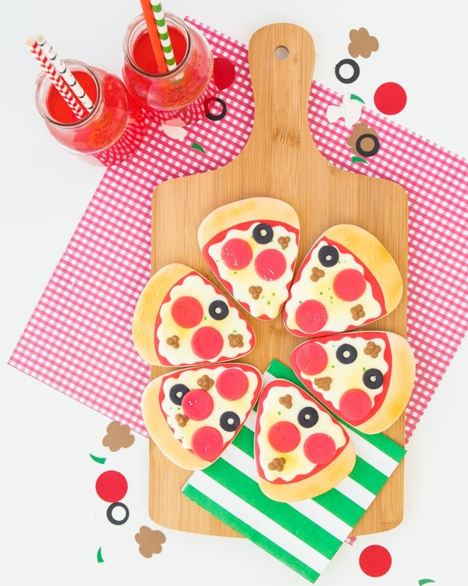 Pizza cookies for a pizza party.
