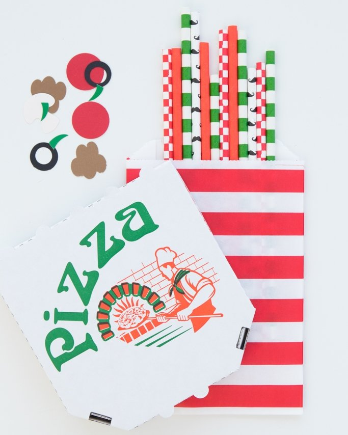 Pizza party ideas - paper straws.