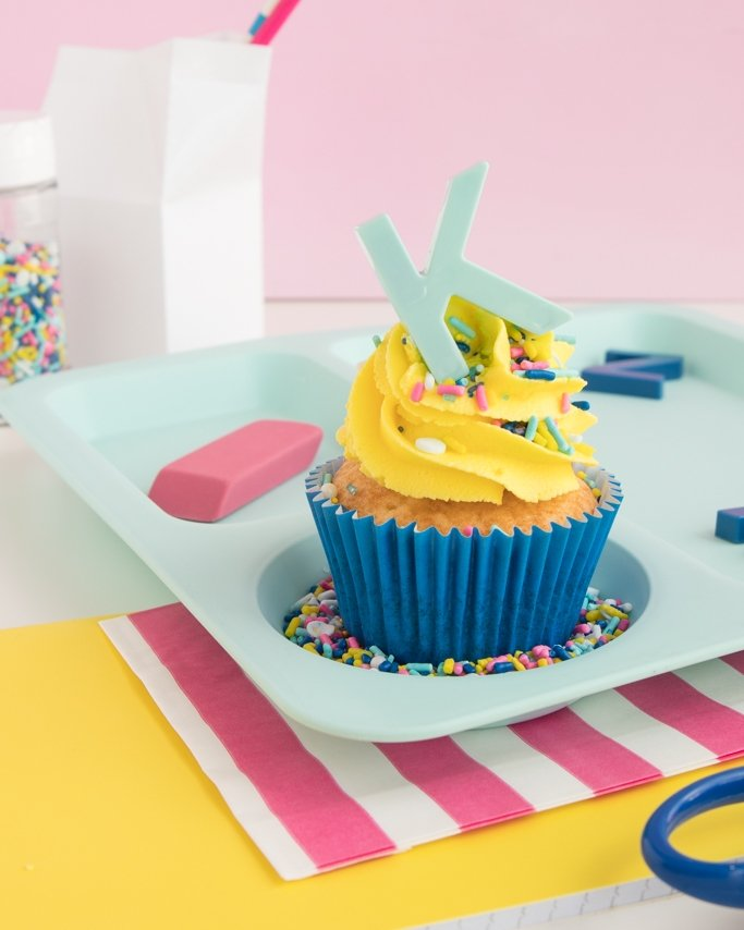 Back To School Party Cupcakes with Prep School modern sprinkles