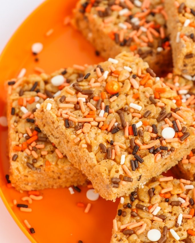 Pumpkin Rice Krispie Treats Recipe - Fall Sprinkles on Top