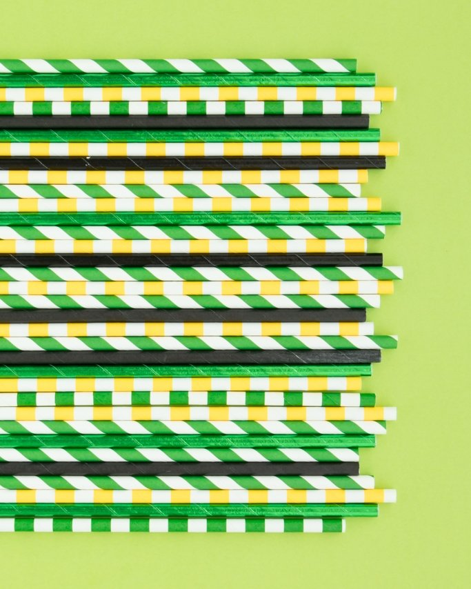 John Deere Party Supplies - Tractor Birthday Party Paper Straws on lime green background