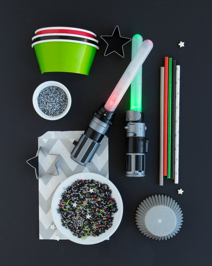 Star Wars Party Supplies collage on black background