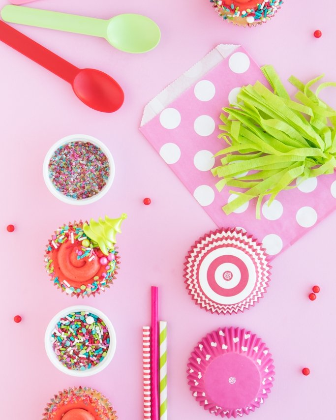 Modern Christmas Sprinkles and Christmas Baking Supplies on pink background