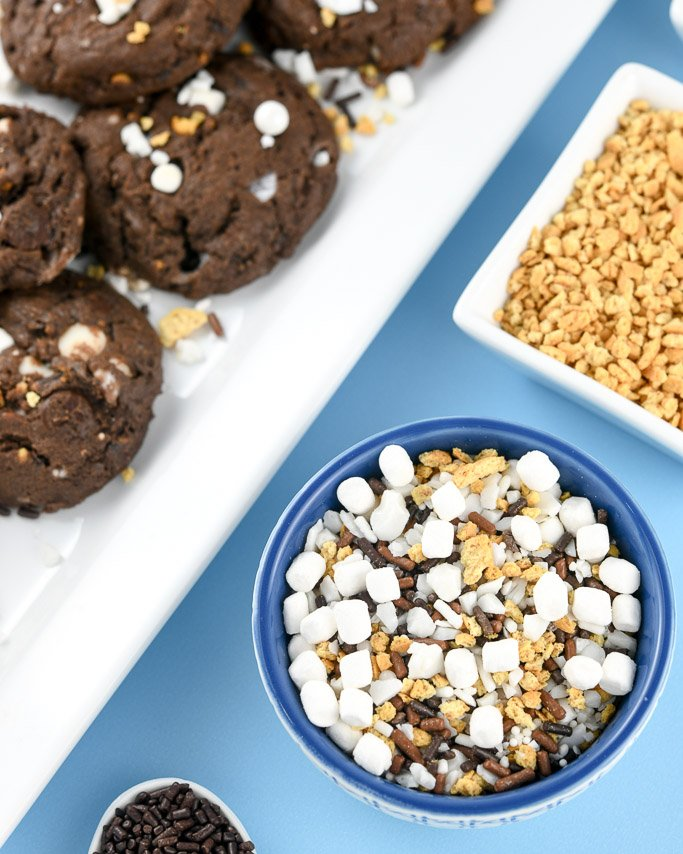 Closeup of s'mores sprinkles with s'mores cookies in background