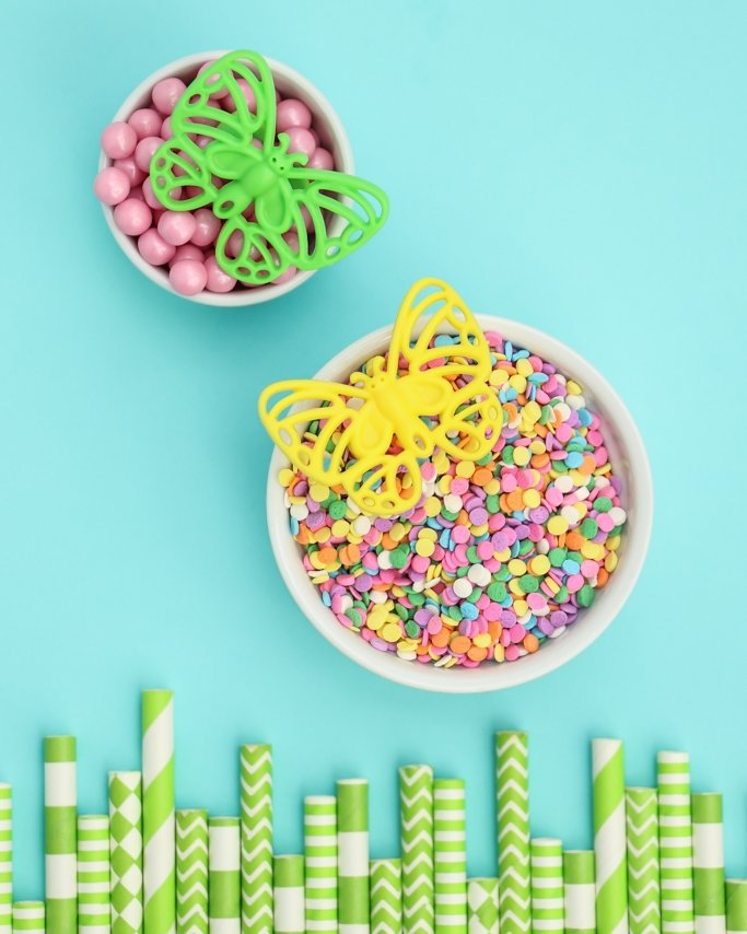 Easter Sprinkles in white ramekin cups