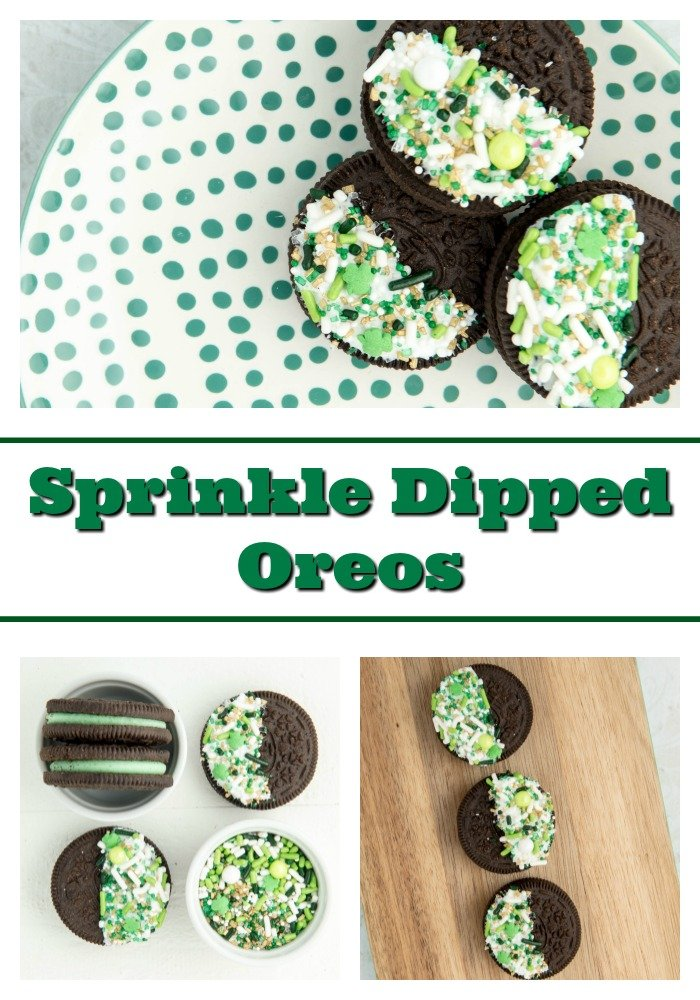St. Patrick's Day easy desserts collage - Sprinkle Dipped Oreos. Topped with our Lucky Charm sprinkle mix, this is one of the fastest and easiest desserts around.