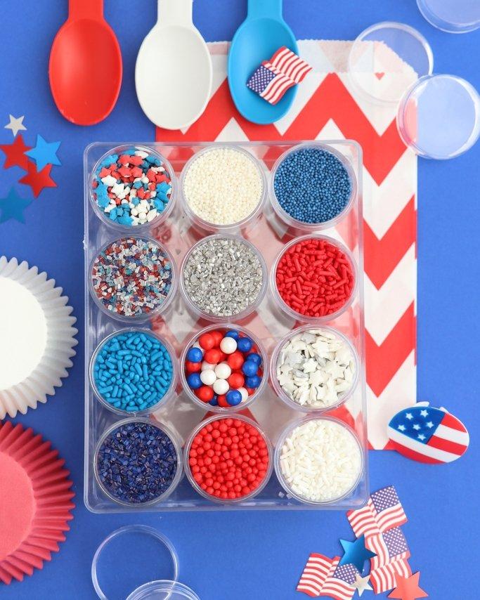 Red, white, and blue sprinkle mix kit. Patriotic sprinkles