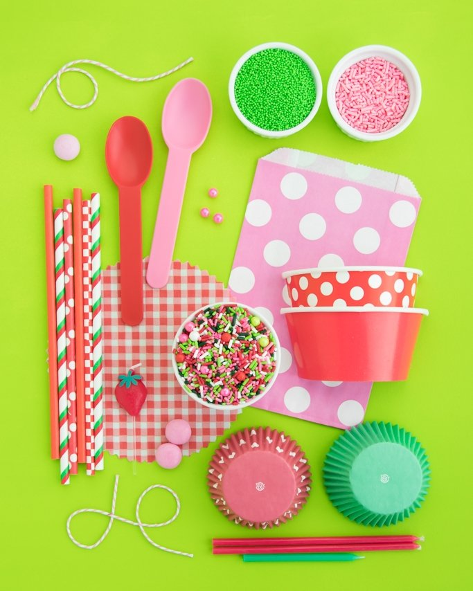 Strawberry Shortcake Party Supplies + Strawberry Sprinkles.