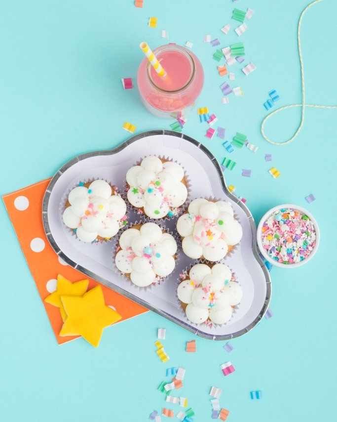 Cloud Cupcakes - Pajama Party Cupcakes on cloud plate on blue background