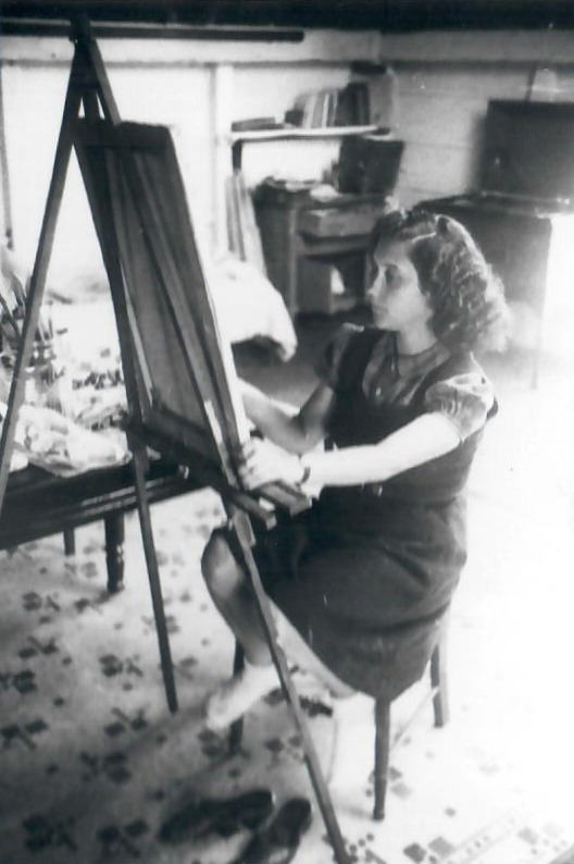 Avital at her easel in a Provincetown, MA