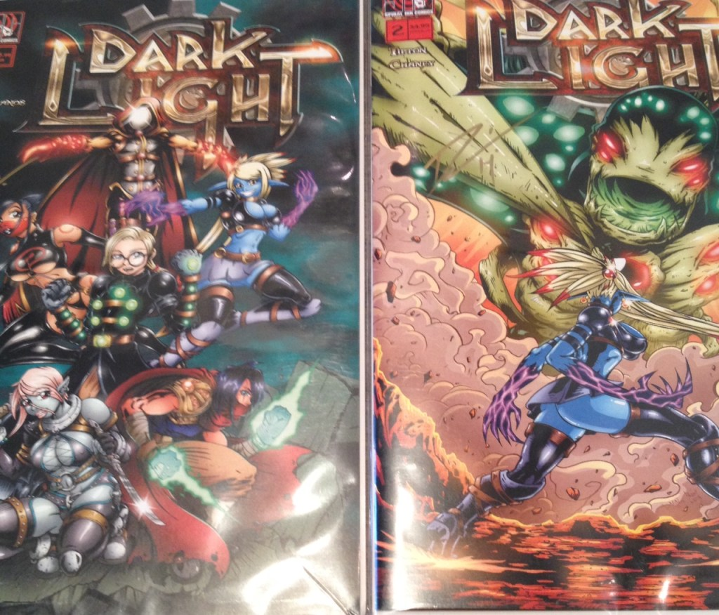 Dark Light is a fantasy/steam punk, manga hybrid book, written, penciled, and colored by Derrick Tipton. Learn more at http://spiralinkcomics.com.