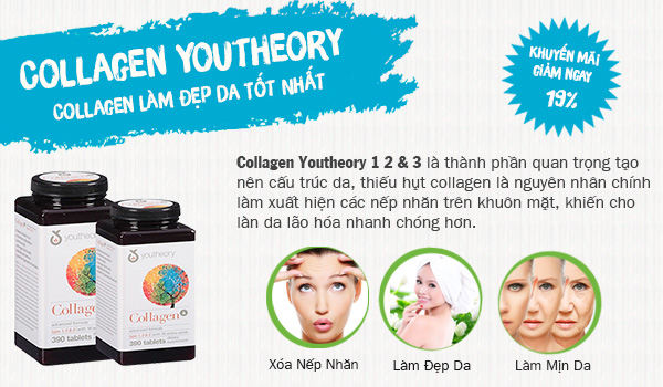 Collagen Youtheory 390 Viên Type 1,2&3