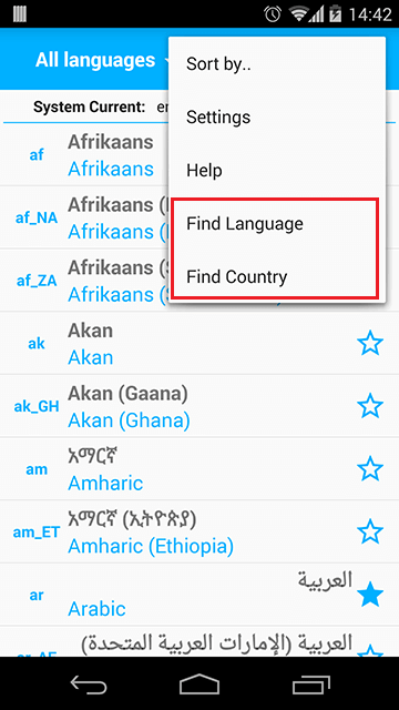 Find Language and Country