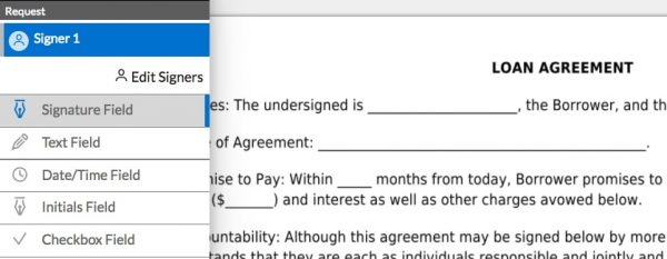 How to create a fillable loan agreement template with signnow 7 to insert a text field select text field in the left sidebar then click where you want to place the field on your document maxwellsz