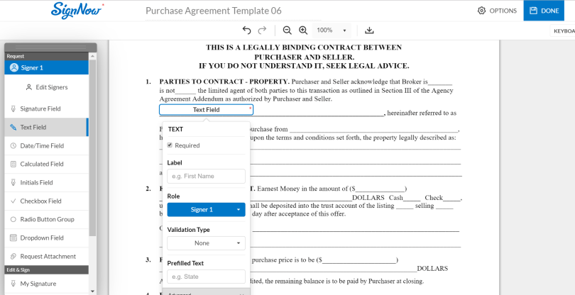 purchase agreement template sign