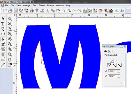 Fig 5: Use the Select Point Tool to edit the curvature of the new arc.