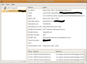 Screenshot of gupnp-universal-control-point, showing one UPnP router found.