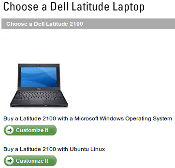 Dell UK Latitude 2100, Choose early between XP or Ubuntu