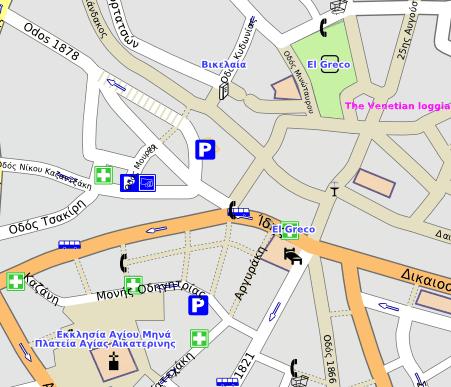 Τμήμα χάρτη Ηλακλείου Κρήτης (OpenStreetMap)