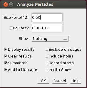 ImageJ - Analyze Particles tool