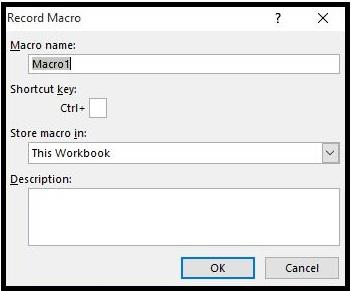 Record Macros in Excel 2