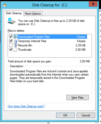 How to bring back disk cleanup tool on windows server 2008 r2.