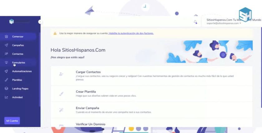 Muestra de la herramienta de email marketing de sitioshispanos - Martín Di Luzio
